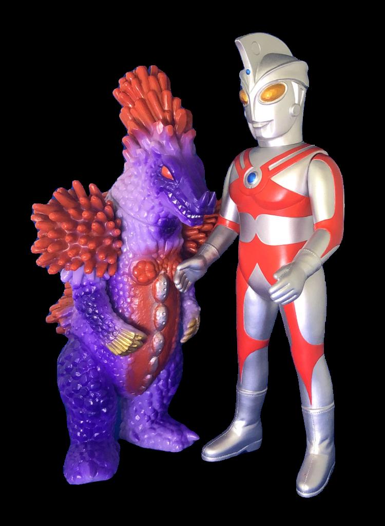 """""""Ultraman A"""" and """"Verokron"""" soft vinyl dolls"""