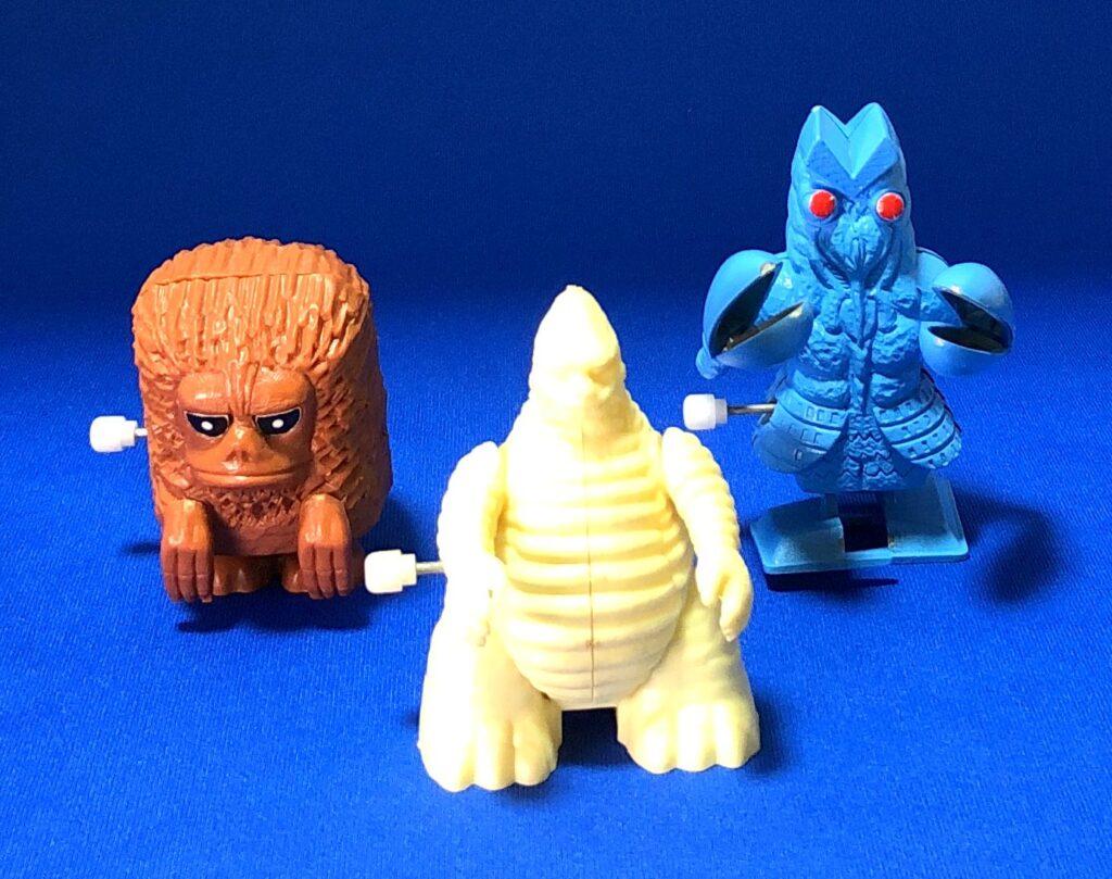 マルショウ再販「ノシノシウルトラマン怪獣シリーズ」 左から「ピグモン」、「レッドキング」、「バルタン星人」