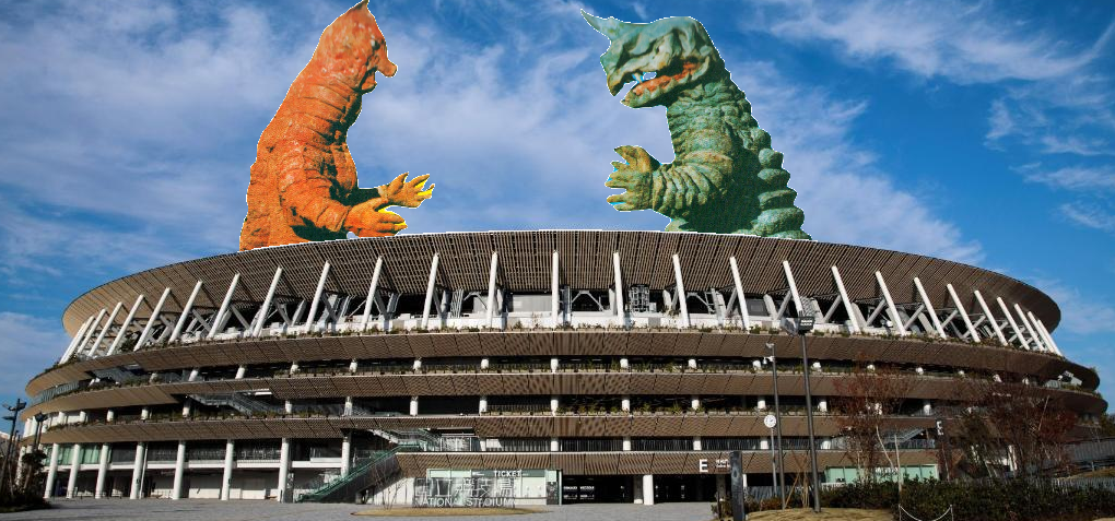 Abolas and Banila appeared at the New National Stadium