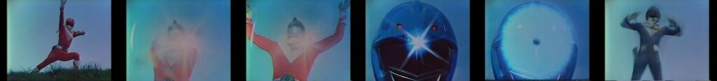 """Taiyo Sentai Sun Vulcan"", the pose at the time of appearance"